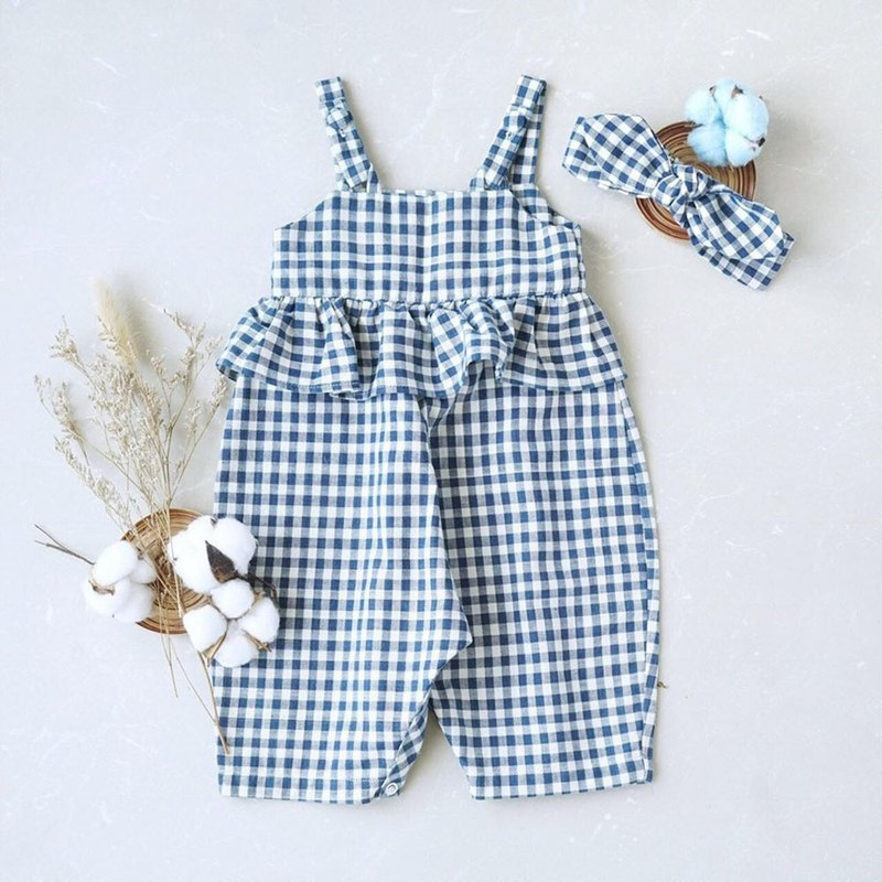 Basic Scott Jumpsuit Girl Hand Woven Cotton 100%,Natural Dyed