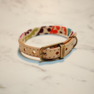 Dog and Cats collars, S size, Pupple and Orange Flower print with unique style