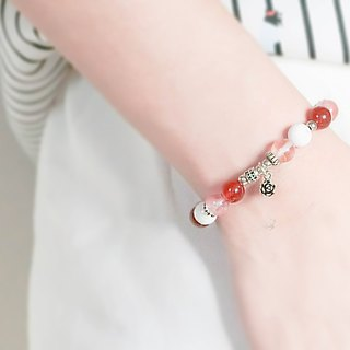 Flower blessing natural stone bracelet silver │ │ red unicorn Tibetan silver gift Christmas birthday Valentine's Day boudoir