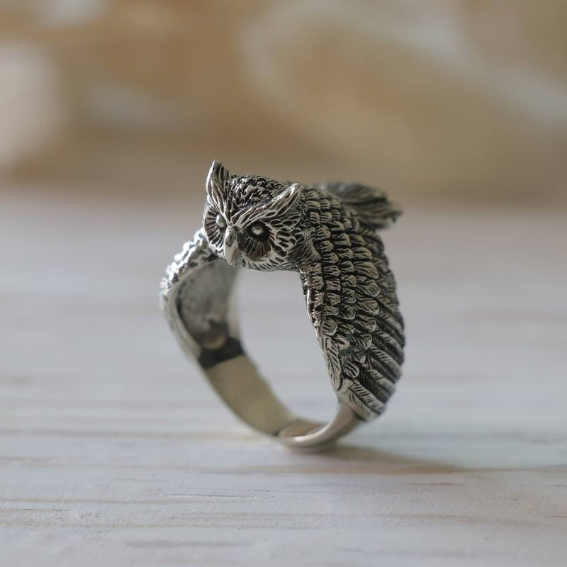 owl Bird Ring sterling silver Celtic tattoos women minimal Jewelry Angel Wings