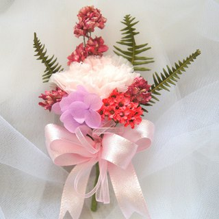 Hand-made dry flower / not withered series ~ Pink erotic fans not withered corsage / Marriage corsage / photo props / wedding flowers / straw hat decoration / clothing accessories ~