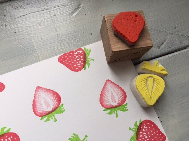 One strawberry stamp & strawberries multicolor push eraser rubber set