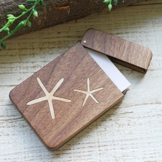 Wooden business card holder / walnut / Starfish