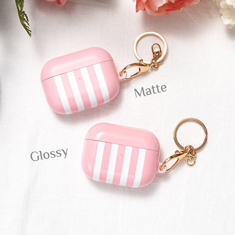 AirPods 1/2/Pro硬殼耳機保護套 淺粉紅色直紋