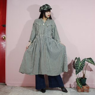 [Vintage dress] black white plaid Japanese vintage dress