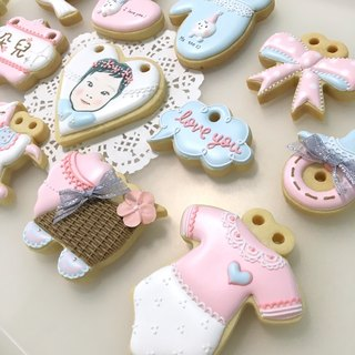 Pink Bubble Dream Recipe Cookie 12+1 (customizable baby head)