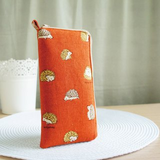 Lovely [Japanese cloth] brick orange ball hedgehog cotton 5 inch mobile phone bag, glasses bag, with compartment