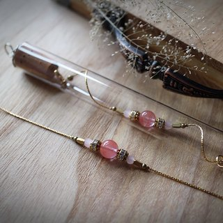 Muse Fashion Series NO.3 Mother's Day pink red hair natural stone sulfur glass tubes brass bracelet