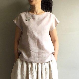 Dear Little White Pigeon* White Linen Round Neck French Sleeve Top 100% Hemp