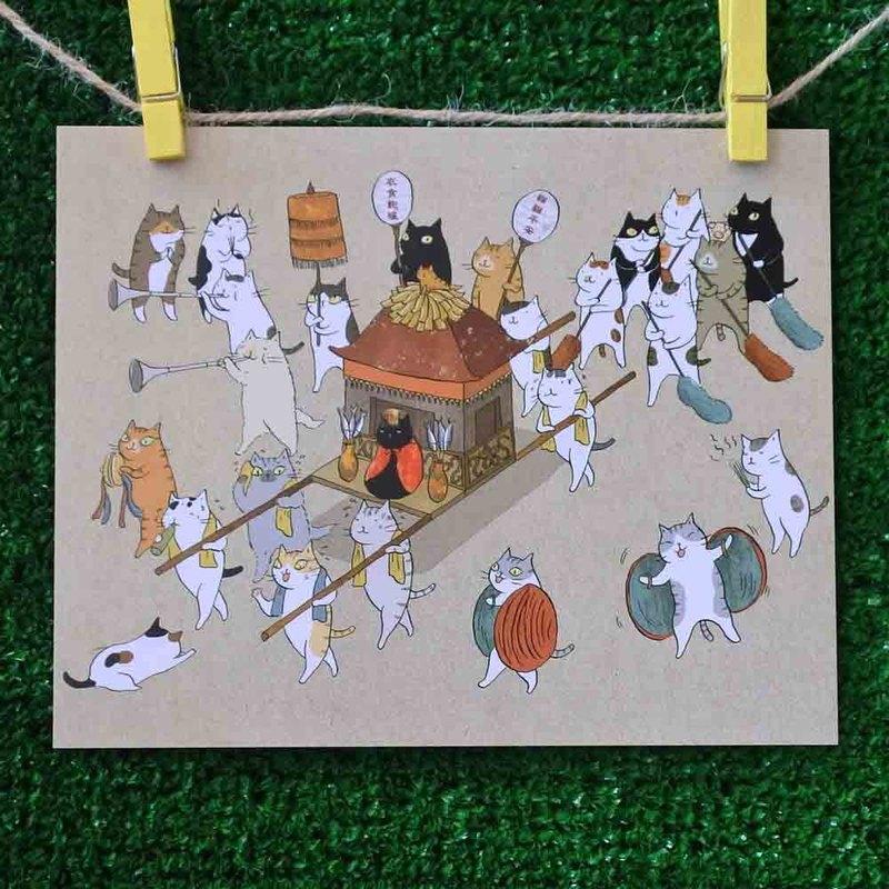 三貓小舖貓咪插畫明信片(畫家:貓小姐) – 瘋貓祖