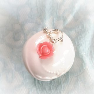 Pink rose earring / ear hook / ear clip (middle)