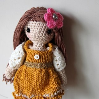 Pink Short Knitting Dinner Dress Doll, yellow skirt, Brown Hair