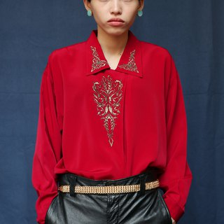 Pumpkin Vintage. Vintage embroidered chiffon shirt