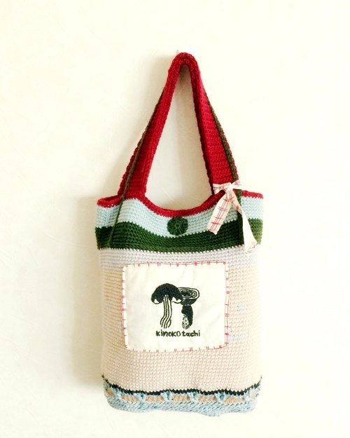 Black Illustration Embroidery Mushroom Shark Cloth Bags / Bags