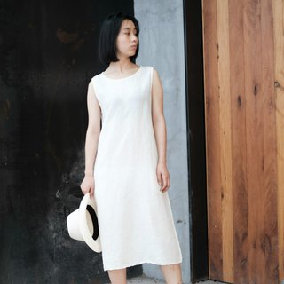 Summer | Natural cotton white minimalist cotton and linen sleeveless round neck dress blue dyed plant dyed fresh dress