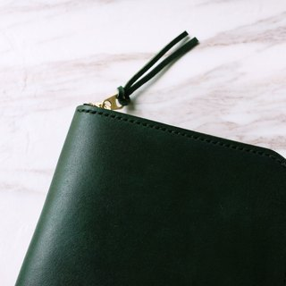 L standing upright clip _ dark green / Cozy Leather Works