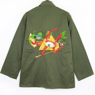 Back to Green :: Military Embroidered Shirt Jacket Rugs RF // Men and Women Wearable // vintage (J-03)