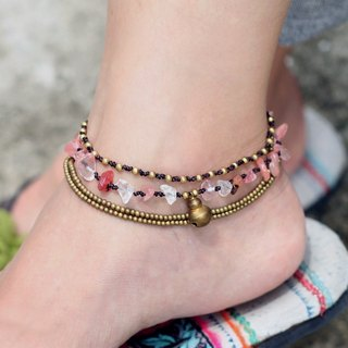Rose Quartz Anklets Layer Chain Brass Romantic Boho Love Gift