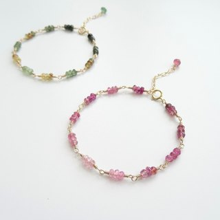 Tiny Faceted Tourmaline Rondelle 14K Gold Filled Bracelet - Light to Dark Pink