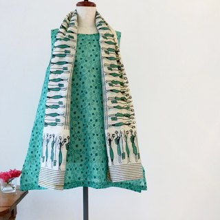 A Line Tunic Dress with Shawl Indian Fabric