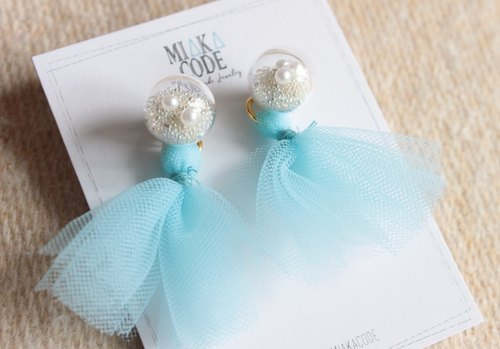 12mm Glass bubble earrings/ear-clips with pastel colour lace tassels (Sky blue)