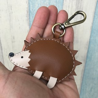Handmade leather coffee / beige cute hedgehog handmade sewn leather key ring small size