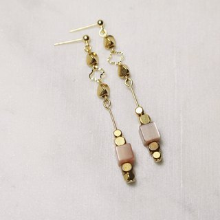 // Brass natural stone earrings // ve162