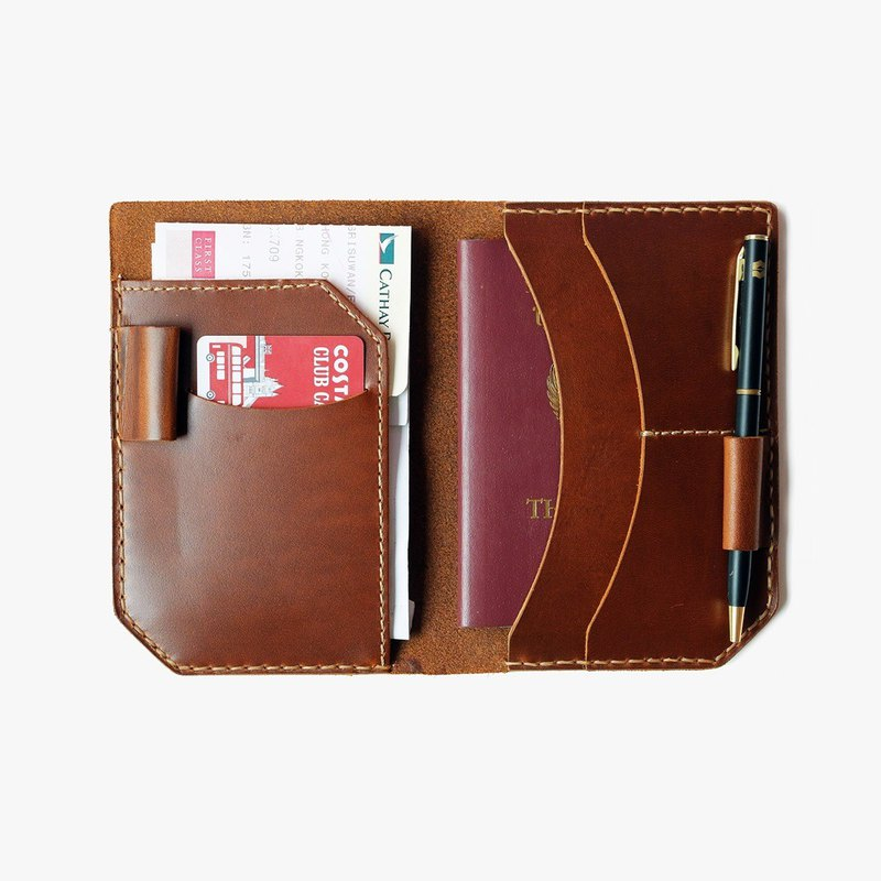 Leather Hand-Stitching Passport Holder and Case with pen