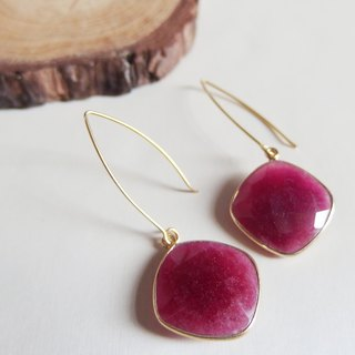 Dangle Ruby with Pearl Earrings