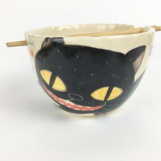Nice Little Clay handmade bowl _ full black cat 0201-11