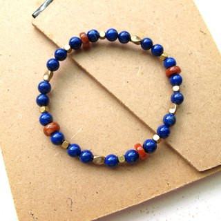 [Blush] Lapis lazuli x Red Agate x Brass - Hand-made natural stone series