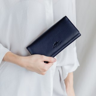 POPPY - WOMAN LONG LEATHER WALLET-DARK BLUE/NAVY