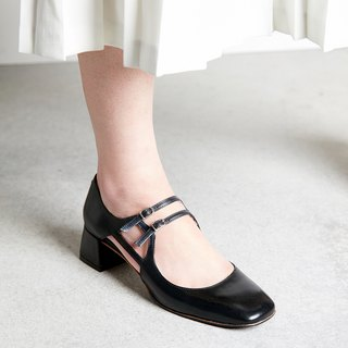 H THREE Square Head Marie Jane / Black / Heeled / Vintage
