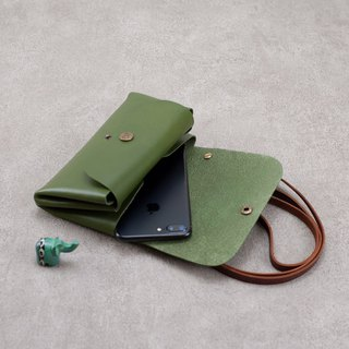 Be Two ∣ leather double buckle hand side backpack / double bulk / clutch bag / hand bag / shoulder bag / matcha green / Elk Christmas button