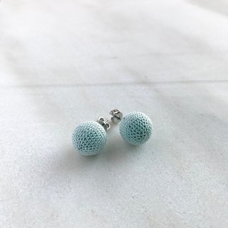 Mint Green Silk Crocheted Pierced Earrings