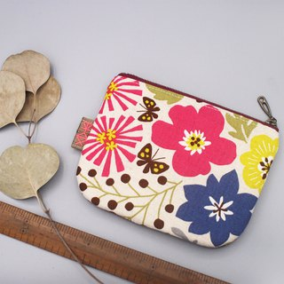 Stock - Ping An Xiao Le - Colorful Garden (Peach) Double-sided two-color small wallet