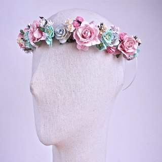 Paper Flower, Bridal flower crown, headband,pink twist roses, mint sakura