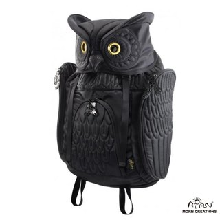 Morn Creations genuine nylon-angle owl after owl Backpack - Black (OW-111)