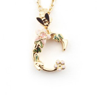 Floral English Letter C Necklace