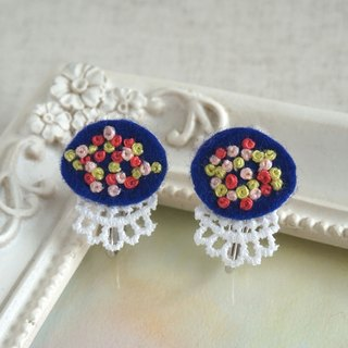 "Hand embroidery earring""Navy oval 1"""