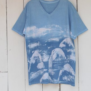 Free dyeing isvara handmade blue dye symbiotic series mountain god cotton T-shirt