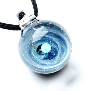 Milky way 's universe world. White opal filled glass pendant star planetary universe