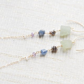 Rough rock flow light and color stone earrings (14 gold gf)