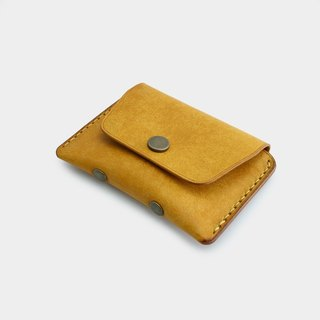RENEW - Coin purse Italian vegetable tanned leather hand-stitched yellow Napoli card pack