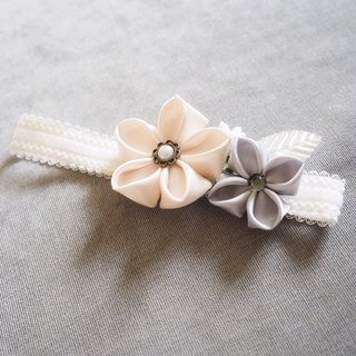 Handmade white and silver ribbon flower baby/ kid headband