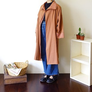 BajuTua / vintage / skin orange pearl double collar trench coat