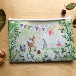Zoe's forest forest party felt cloth storage bag hedgehog squirrel raccoon rabbit
