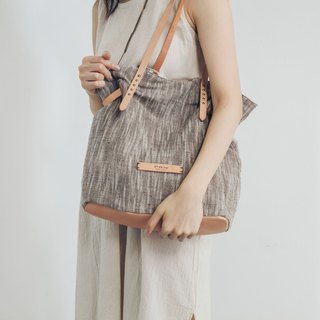 Shoulder Bag - Dumpling Bag - Brown Linen