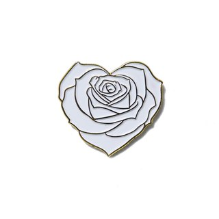 White Heart Rose Gold Border Pin