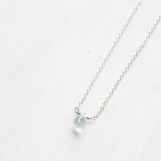 【MARCH 3-birthstone-Aquamarine】lucky clavicle silver necklace (adjustable)